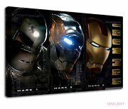 Iron Man Suit Mark 1, Mark 2 And Mark 3 Collage Canvas Wall Art Picture Print