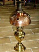 Stunning Rare Antique Arts And Crafts Copper With Glass Cabochon And Brass Oil Lamp