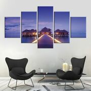 5 Panel Framed Sea House Walkway Pier Canvas Picture Wall Art Hd Print Decor