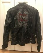 Harley Davidson Womens Motor Cycle Genuine Leather Jacket Small Long Sleeves