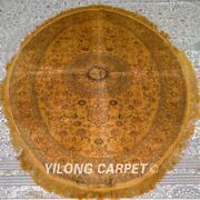 Yilong 4and039x6and039 Handmade Silk Carpet Oval Living Room Antique Gold Rugs Mc344b