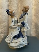 Vintage Porcelain Blue And Whitevictoria Couple Dancing Rotatingmusic Box