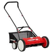 Reel Lawn Mower Manual Walk Behind Grass Catcher Adjustable Cutting Height 18in