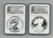 2012-s Silver Eagle 75th Ann Set Pf 70 And Reverse Pf 70 Ngc Trolley Label