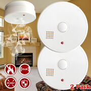 2x Smoke Detector Fire Alarm Battery Operated Home Safety Photoelectric Sensor