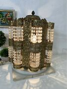 Vintage Hollywood Regency Chandielier Table Lamp Mounted On Marble And Lucite Base