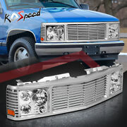 Silver Front Grille Composite Chrome Headlight For 94-00 Chevy Gmc C/k C10 Yukon