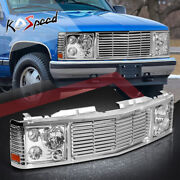 Front Grille Composite Chrome Headlight Lamps For 94-00 Chevy Gmc C/k C10 Yukon