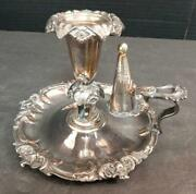 Antique Silver Chamberstick Candleholder Snuffer And Sconce Silverplate On Copper