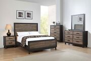 Contemporary Style King 5pc Bed Dresser Mirror Nightstand Bedroom Furniture Set
