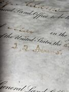 John Quincy Adams Hand Signed 1825 Land Sale Autograph Between 2 Pioneers Creagh