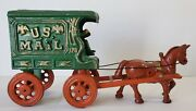 Antique Cast Iron U. S. Mail Wagon And Horse