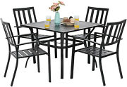 Outdoor Furniture Set 5 Metal Patio Chairs 37and039and039 Square Table Black Furniture