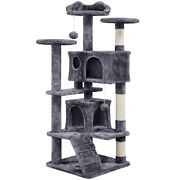 Cat Tree Condo Pet Furniture Activity Tower Play House With Scratching Posts