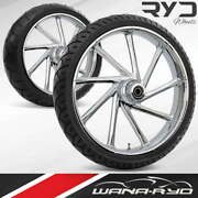 Kinetic Chrome 21 Front And Rear Wheels, Tires Package Dual Rotors 00-07 Bagger