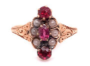 Vintage Ruby Seed Pearl Cocktail Ring .50ct Antique Victorian 14k