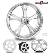 Fierce Chrome 21 Front And Rear Wheels, Tires Package Dual Rotors 00-07 Bagger