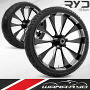 Diode Starkline 21 Front And Rear Wheels, Tires Package Dual Rotors 09-19 Bagger