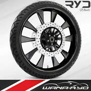 Ryd Wheels Diode Blackline 26 Front Wheel Tire Package Dual Rotors 08-19 Bagger