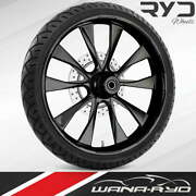 Ryd Wheels Diode Blackline 26 Front Wheel Tire Package 13 Rotor 08-19 Bagger
