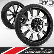 Diode Blackline 21 Front And Rear Wheels, Tires Package Dual Rotors 00-07 Bagger
