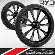 Diode Blackline 23 Fat Front And Rear Wheels Tires Package 00-07 Bagger