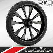 Ryd Wheels Diode Blackline 23 Fat Front Wheel And Tire Package 08-19 Bagger