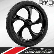 Ryd Wheels Rollin Blackline 23 Fat Front Wheel And Tire Package 08-19 Bagger