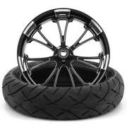 Arc Black Polished 18 X 5.5 Fat Front Wheel 180 Tire - 2000-2021 Harley Touring