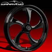 Ryd Wheels Rollin Blackline 18 Fat Front And Rear Wheels Only 00-07 Bagger