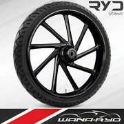 Kinetic Blackline 23 Fat Front Wheel Tire Package 13 Rotor 00-07 Bagger