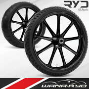 Ryd Wheels Ion Blackline 21 Fat Front And Rear Wheels Tires Package 00-07 Bagger