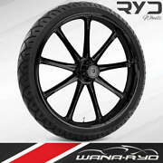 Ryd Wheels Ion Blackline 23 Fat Front Wheel Tire Package 13 Rotor 00-07 Bagger