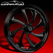 Twisted Blackline 23 Fat Front Wheel Tire Package Dual Rotors 08-19 Bagger