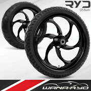 Reactor Blackline 21 Fat Front And Rear Wheels Tires Package 00-07 Bagger