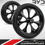 Atomic Blackline 23 Fat Front And Rear Wheels Tires Package 00-07 Bagger
