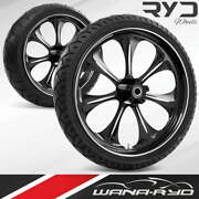 Atomic Starkline 23 Fat Front And Rear Wheels Tires Package 00-07 Bagger