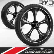 Adrenaline Starkline 21 Fat Front And Rear Wheels Tires Package 00-07 Bagger