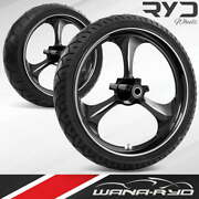 Amp Starkline 23 Front And Rear Wheels Tires Package 13 Rotor 09-19 Bagger