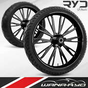 Resistor Blackline 21 Fat Front And Rear Wheels Tires Package 00-07 Bagger