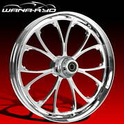 """Ryd Wheels Arc Chrome 23 X 5.0"""" Fat Front Wheel And Tire Package 00-07 Bagger"""