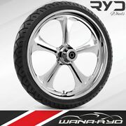 Adrenaline Chrome 21 Fat Front Wheel Tire Package 13 Rotor 00-07 Bagger