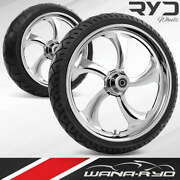 Rol215183frwtdd07bag Rollin Chrome 21 Fat Front And Rear Wheels Tires Package Du