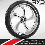 """Ryd Wheels Rollin Chrome 23 X 5.0"""" Fat Front Wheel And Tire Package 00-07 Bagger"""