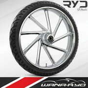 """Ryd Wheels Kinetic Chrome 23 X 5.0"""" Fat Front Wheel And Tire Package 00-07 Bagger"""