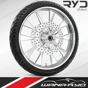 Ryd Wheels Diode Chrome 23 Front Wheel Tire Package Dual Rotors 00-07 Bagger