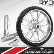 Diode Chrome 23 Fat Front Wheel Single Disk W/ Forks And Caliper 00-07 Bagger