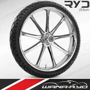 Ryd Wheels Ion Chrome 21 Fat Front Wheel Tire Package 13 Rotor 08-19 Bagger