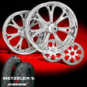 Pm Virtue Chrome 23 Wheels Tires Package Set 00-07 Harley Flh Touring Bagger