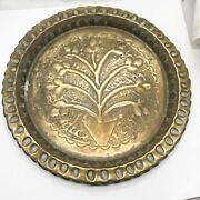 Antiques Indian Hand Decorated Beaten Brass Plaque Plate Tree Of Life Good Luck